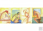 ART004 - Female Nude Yellow Brown - set of 4